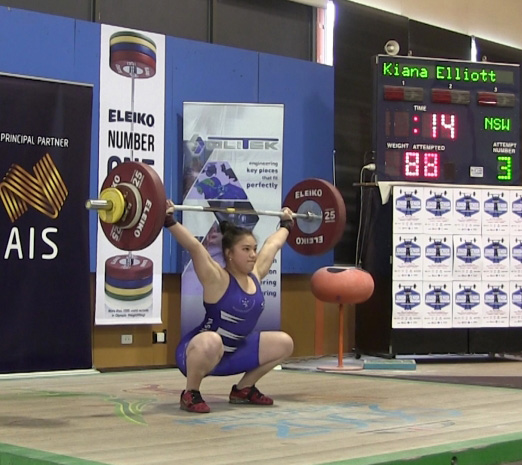 Kiana Elliott - Excellence in Snatch Technique - displaying a great Receiving Position