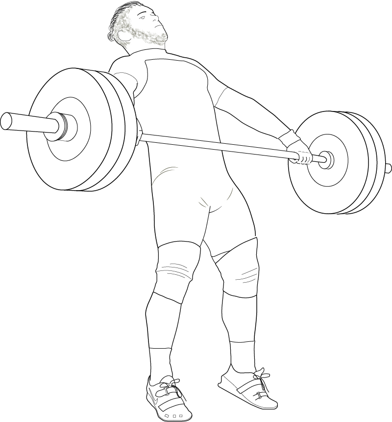 The finish of the pull in the Snatch, the body fully extended to gain maximum elevation of the bar,