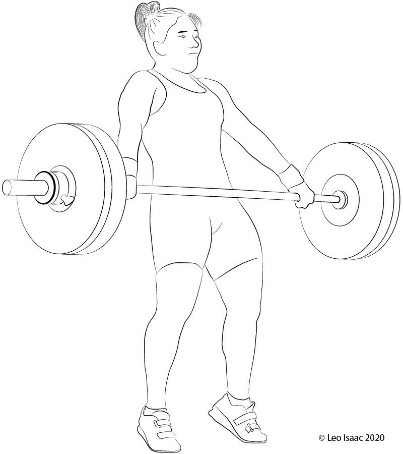 Moment of maximum extension of the body in the Snatch Pull.
